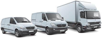 European commercial vehicles lineup Stock Photography