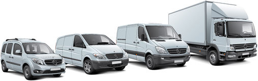 European commercial vehicles set. High quality  illustration of commercial vehicles lineup, isolated on white background Royalty Free Stock Image