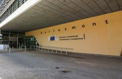 European Commision Building - Berlaymont Building stock photo