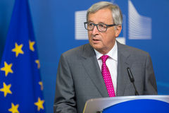 European Commission President Jean-Claude Juncker. BRUSSELS, BELGIUM - Aug 27, 2015: European Commission President Jean-Claude Juncker during a joint press Royalty Free Stock Photography