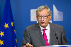 European Commission President Jean-Claude Juncker. BRUSSELS, BELGIUM - Aug 27, 2015: European Commission President Jean-Claude Juncker during a joint press Stock Photography