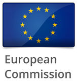 European Commission. Standard proportional sign - glossy design with shadow on white background stock illustration