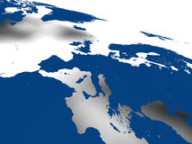 European continent. Blue map of european continent with soft shadow on white background. Elements of this image furnished by NASA Royalty Free Stock Photos