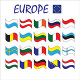 European continent countries state national flags vector set Royalty Free Stock Image