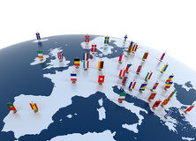 European continent marked with flags. European countries 3d illustration - european continent marked with flags stock illustration