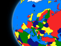 European continent on political Earth Stock Photo