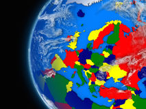 European continent on political globe Stock Image