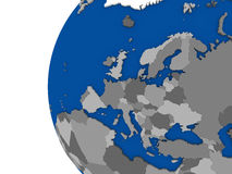 European continent on political globe Royalty Free Stock Image