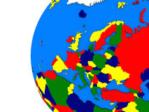 European continent on political globe Stock Images