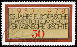 European Convention, 25th Anniversary of European Human Rights Convention serie, circa 1978. MOSCOW, RUSSIA - FEBRUARY 21, 2019: A stamp printed in Germany stock photography