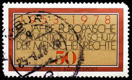 European Convention, 25th Anniv. of European Human Rights Convention serie, circa 1978. MOSCOW, RUSSIA - FEBRUARY 21, 2019: A stamp printed in Germany, Federal stock photo