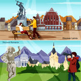 European Countries Compositions  Set Stock Photo