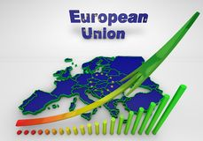 European countries 3d illustration. Map of European countries business 3d illustration Stock Images