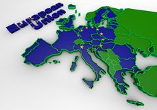 European countries 3d illustration. Map of European countries business 3d illustration Stock Photo