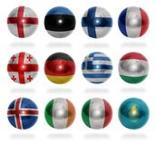 European countries (From E to K) flag balls Stock Photo