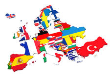 European Countries. Countries of Europe. European flags. White background Royalty Free Stock Images