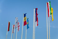 European countries flags . European countries flags  on a background of sky Royalty Free Stock Images