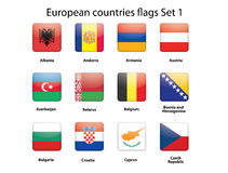 European countries flags set 1. Buttons with European countries flags set 1 Royalty Free Stock Image