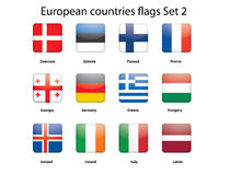 European countries flags set 2. Buttons with European countries flags set 2 Stock Image
