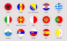 European countries flags set. Vector flag stickers collection. Round elements. South Europe states. Circle elements stock illustration