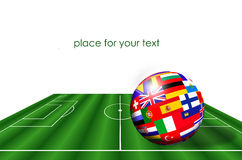European countries flags on soccer field Stock Images