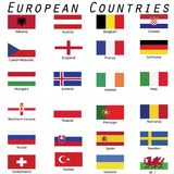 European countries flags in white background vector illustration