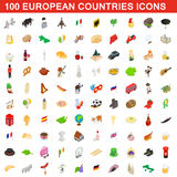 100 European countries icons set, isometric style. 100 European countries icons set in isometric 3d style for any design vector illustration Stock Photography