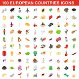 100 European countries icons set, isometric style. 100 European countries icons set in isometric 3d style for any design illustration vector illustration