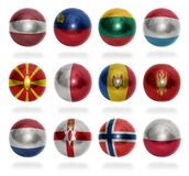 European countries (From L to P) flag balls. On a white background stock photography