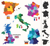 European countries maps. Vector set of european regions maps Stock Photography