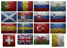 European countries from P to V. Waving Flags of European countries from P to V, Collage Stock Image