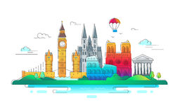 European Countries - vector line travel illustration. European Countries - modern vector line travel illustration. Have a trip, enjoy your vacation. Discover Royalty Free Stock Image