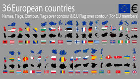 36 European countries Royalty Free Stock Image
