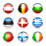European country flag buttons. Set of European country flag buttons, isolated on white background Royalty Free Stock Photography