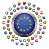 European country flags. Set of European country flag buttons surrounding European Union symbol, isolated on white background Royalty Free Stock Image
