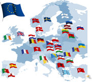 European country flags and map. vector illustration