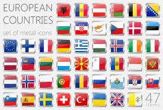 European Country Flags. Metal Icons Square Shape. 47 Items Stock Photography