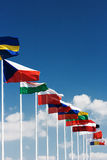 European country  flags. Row of European country  flags against blue sky background Stock Photography
