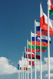 European country flags in row. Row of European country  flags against blue sky background Stock Image