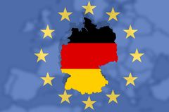 European country  Germany with natiolan flag on Europe background and Euro sign Royalty Free Stock Image