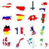 European Country Maps Stock Images