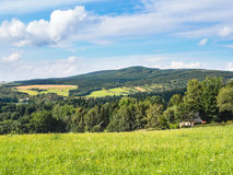European countryside in summer, Jeseniky mountains. Middle European countryside, Czech republic, Jeseniky in summer, meadow under the Mala Destna mountain Royalty Free Stock Photography