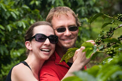 European couple on coffee plantation in Costa Rica Royalty Free Stock Photo
