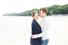 European couple relaxing on the sea Royalty Free Stock Photo