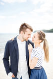 European couple relaxing on the sea Royalty Free Stock Photography