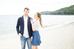 European couple relaxing on the sea Stock Photography