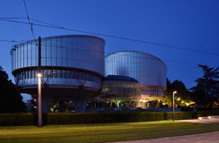 European Court of Human Rights building at dusk Royalty Free Stock Image