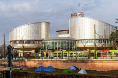 European Court of Human Rights with protesters tents Stock Photography