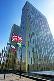 European Court of Justice in Luxembourg with couple of flags Royalty Free Stock Photos
