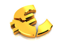 European crisis. 3d illustration of broken euro sign, over white background Royalty Free Stock Image